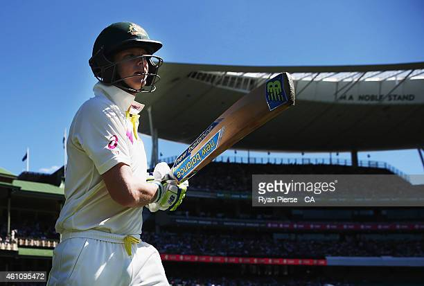 Steve Smith of Australia walks out to bat during day two of the Fourth Test match between Australia and India at Sydney Cricket Ground on January 7,...