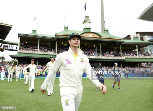Steve Smith of Australia walks out to field during day one of the Fifth Test match in the 2017/18 Ashes Series between Australia and England at...
