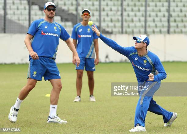 Steve Smith of Australia warms up during an Australian Test team nets session at SherE Bangla National Cricket Stadium on August 25 2017 in Dhaka...