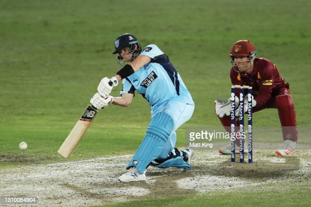 Steve Smith of New South Wales bats during the Marsh One Day Cup match between New South Wales and Queensland at North Sydney Oval on March 31, 2021...