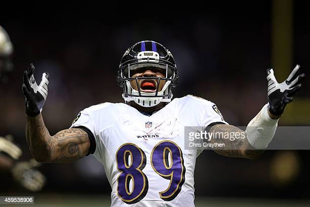 Steve Smith of the Baltimore Ravens reacts to a catch during the second quarter of a game against the New Orleans Saints at the MercedesBenz...