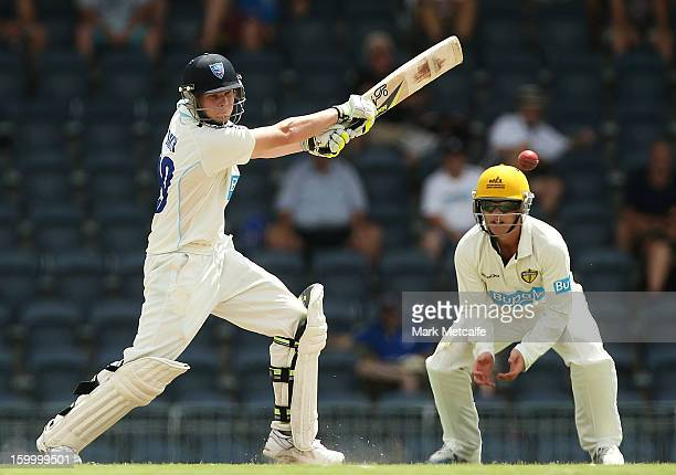 Steve Smith of the Blues bats during day two of the Sheffield Shield match between the New South Wales Blues and the Western Australia Warriors at...