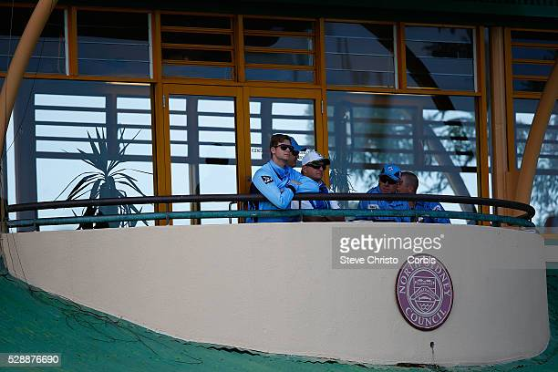 Steve Smith of the Blues watches the game from the balcony of the Mollie Dive Stand during the Matador BBQ's OneDay Cup between New South Wales Blues...