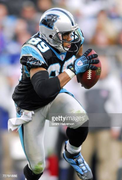 Steve Smith of the Carolina Panthers returns a punt against the New York Giants on December 10 2006 at Bank of America Stadium in Charlotte North...