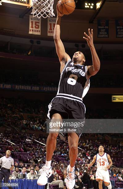 Steve Smith of the San Antonio Spurs shoots the easy layup during a game against the New York Knicks at Madison Square Garden in New York New York...