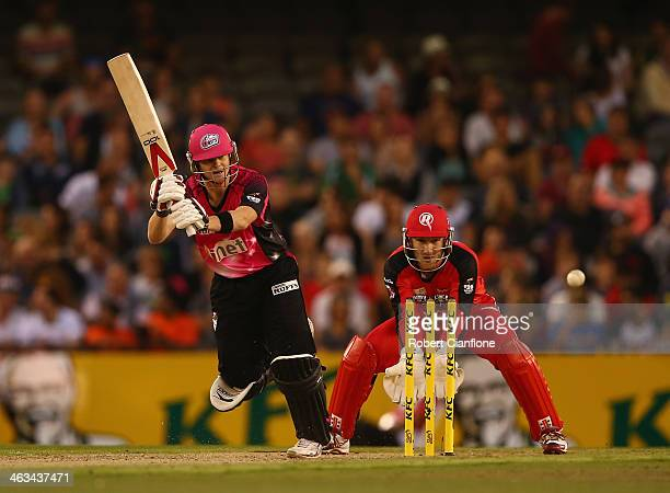 Steve Smith of the Sixers bats during the Big Bash League match between the Melbourne Renegades and the Sydney Sixers at Etihad Stadium on January 18...
