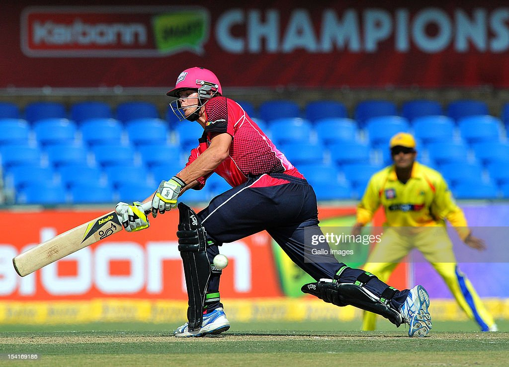 Steve Smith of the Sixers sweeps a delivery during the Champions League Twenty20 match between Chennai Super Kings and Sydney Sixers at Bidvest Wanderers Stadium on October 14, 2012 in Johannesburg, South Africa.