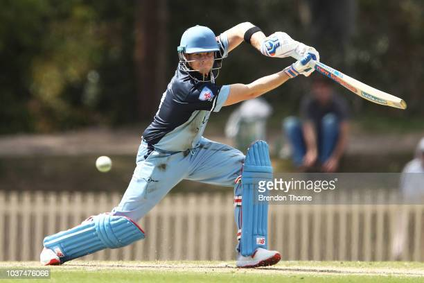 Steve Smith plays a cover drive during the NSW First Grade Club Cricket match between Sutherland and Mosman at Glenn McGrath Oval on September 22...