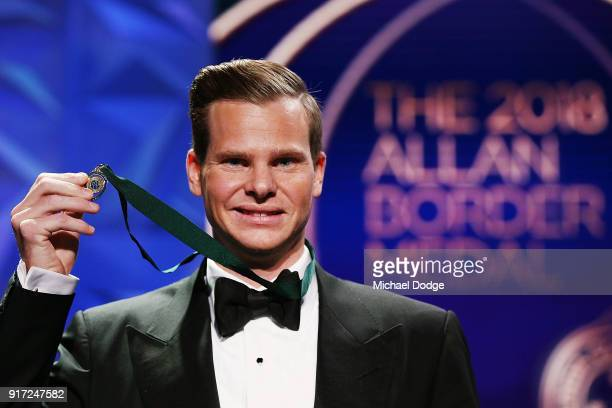 Steve Smith poses after he wins the Alan Border Medal at the 2018 Allan Border Medal at Crown Palladium on February 12 2018 in Melbourne Australia