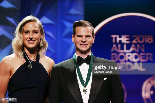 Steve Smith poses after he wins the Alan Border Medal with Ellyse Perry who won the Belinda Clark Award at the 2018 Allan Border Medal at Crown...