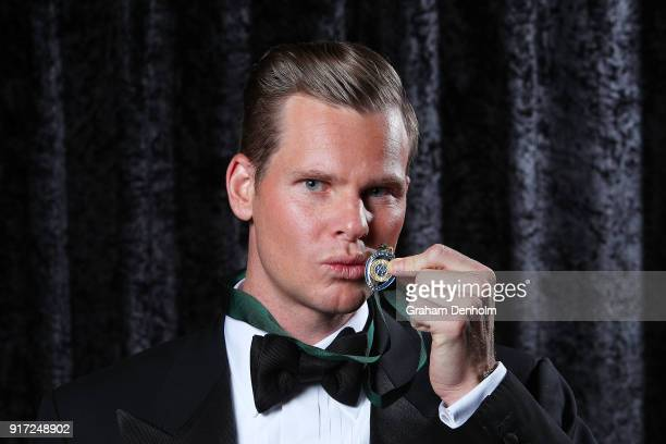 Steve Smith poses after winning the Allan Border Medal during the 2018 Allan Border Medal at Crown Palladium on February 12 2018 in Melbourne...
