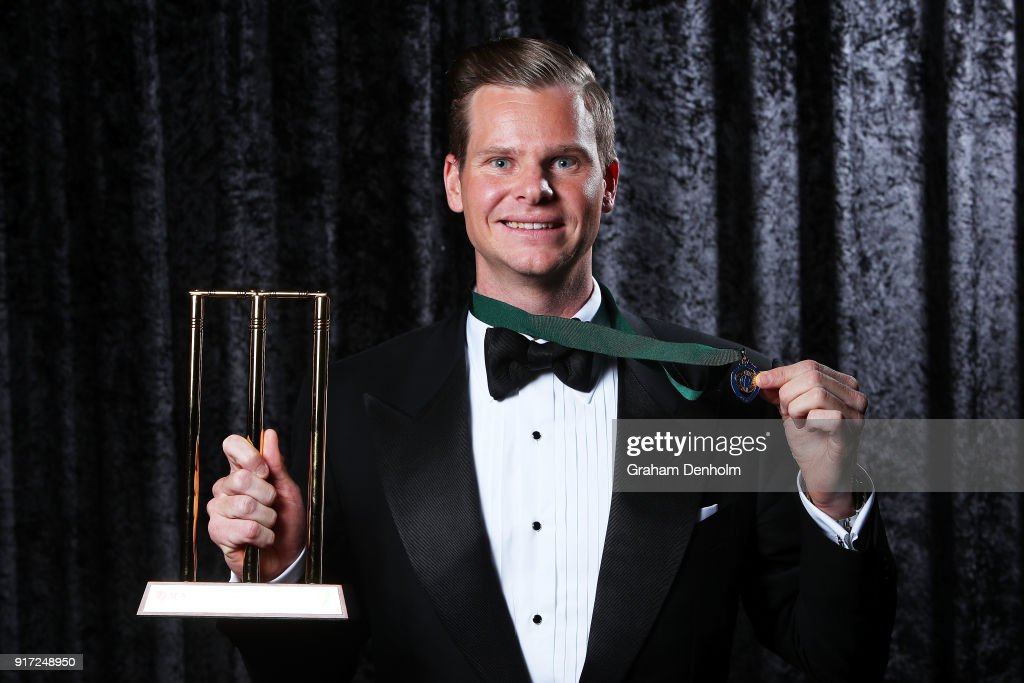 Steve Smith poses with the Allan Border Medal and the award for Test Player of the Year during the 2018 Allan Border Medal at Crown Palladium on February 12, 2018 in Melbourne, Australia.