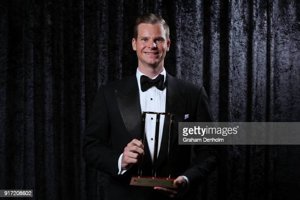 Steve Smith poses with the award for Test Player of the Year during the 2018 Allan Border Medal at Crown Palladium on February 12 2018 in Melbourne...