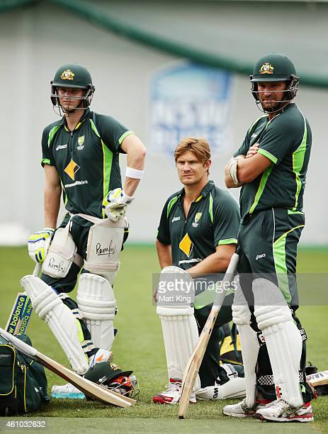 Steve Smith Shane Watson and Ryan Harris wait to bat during an Australian nets session at Sydney Cricket Ground on January 5 2015 in Sydney Australia