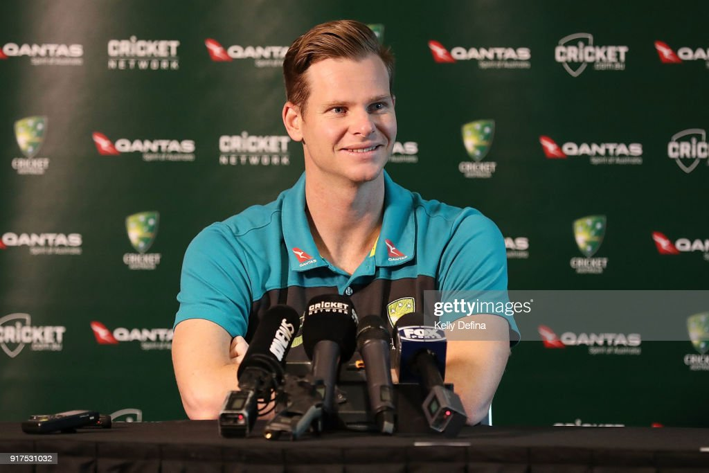 Steve Smith speaks to the media during a press conference at Quay West Hotel on February 13, 2018 in Melbourne, Australia.