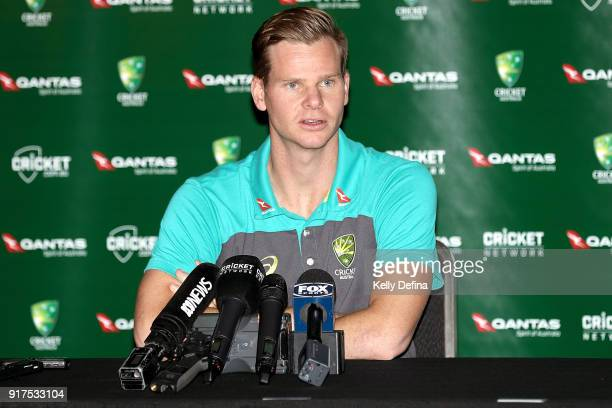 Steve Smith speaks to the media during a press conference at Quay West Hotel on February 13 2018 in Melbourne Australia
