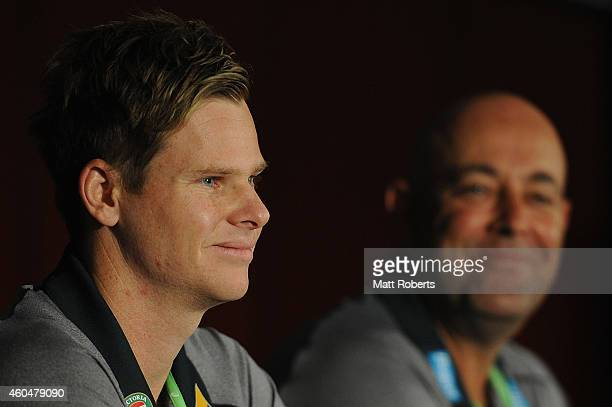 Steve Smith speaks to the media during a press conference at The Gabba on December 15 2014 in Brisbane Australia