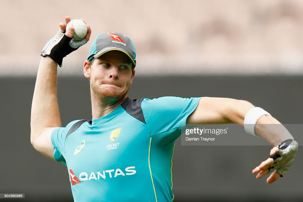 Steve Smith throws during the Australian nets session at the on January 13, 2018 in Melbourne, Australia.