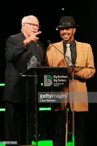 Steve Sobroff and Terry Williams speaks to the crowd during Big Brothers Big Sisters Of Greater Los Angeles Big Bash Gala Inside at The Beverly...