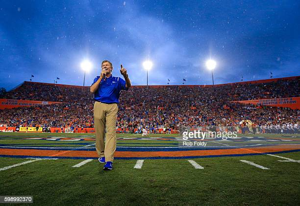 Steve Spurrier speaks during a field naming ceremony before the game between the Florida Gators and the Massachusetts Minutemen at Ben Hill Griffin...