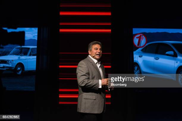 Steve St Angelo, senior managing officer of Toyota Motor Corp., speaks during a launch event for the new2018 Toyota Corolla vehicle in Sao Paulo,...
