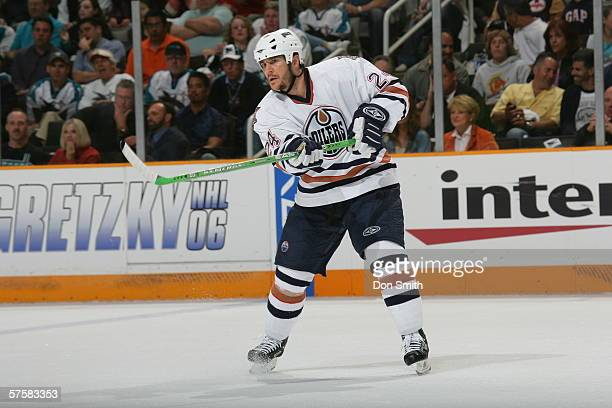 Steve Staios of the Edmonton Oilers passes the puck during Game 2 of the Western Conference Semifinals against the San Jose Sharks on May 8, 2006 at...