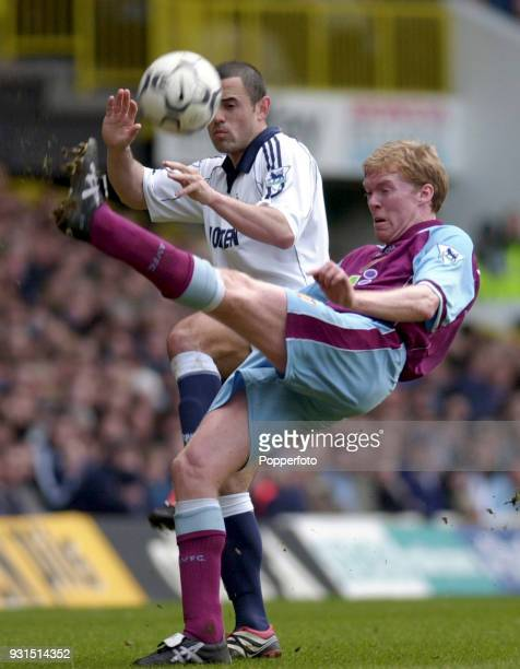 Steve Staunton of Aston Villa clears from Stephen Carr of Tottenham Hotspur during the FA Carling Premiership match between Tottenham Hotspur and...