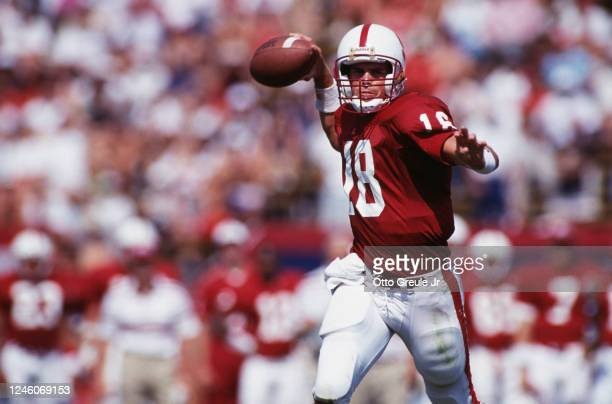 Steve Stenstrom, Quarterback for the University of Stanford Cardinal during the NCAA Big West Conference college football game against the San Jose...