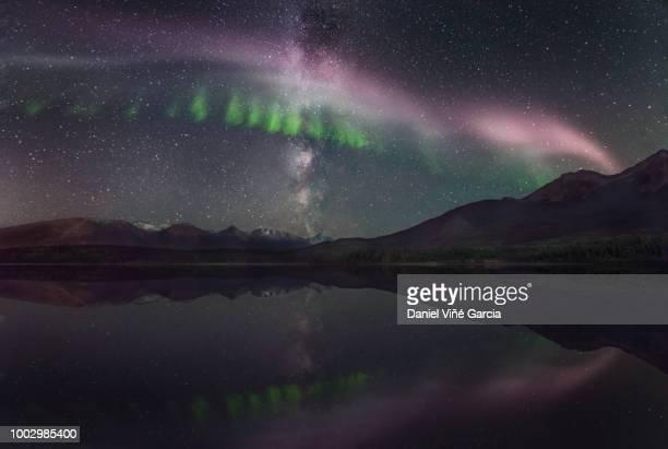 Steve (Steve (atmospheric phenomenon), Northern Lights and milky way over the Patricia Lake in Jasper National Park, Alberta, Canada.