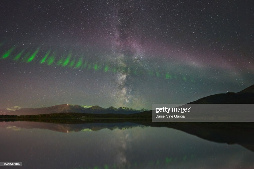 Steve (Steve (atmospheric phenomenon), Northern Lights and milky way over the Patricia Lake in Jasper National Park, Alberta, Canada. : Stock Photo