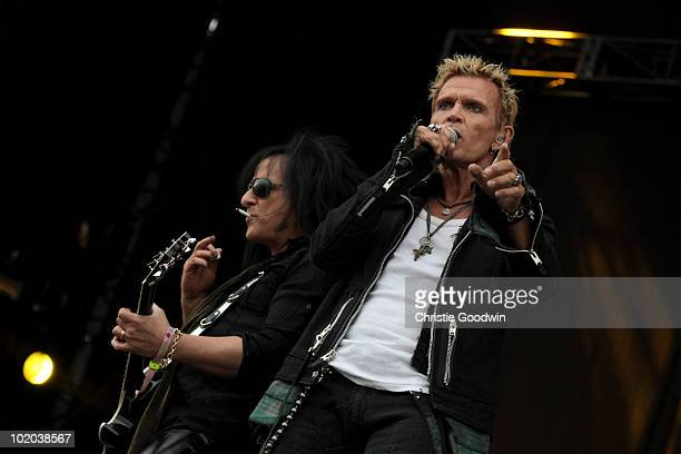 Steve Stevens and Billy Idol perform on the Maurice Jones stage on Day 3 of Download Festival on June 13 2010 in Donington England