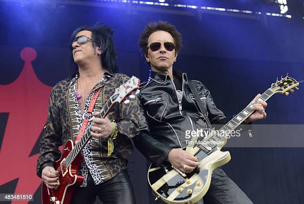 Steve Stevens and Billy Morrison perform with Billy Idol during the Outside Lands Music And Arts Festival at Golden Gate Park on August 8 2015 in San...