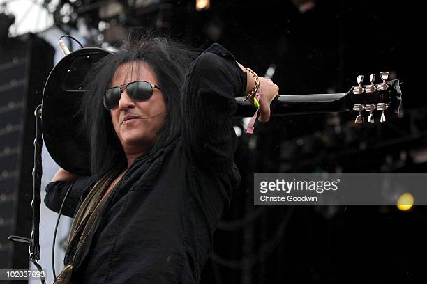 Steve Stevens performs with Billy Idol on the Maurice Jones stage on Day 3 of Download Festival on June 13 2010 in Donington England