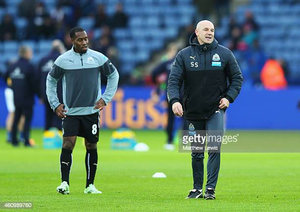 Steve Stone, joint caretaker manager of Newcastle United looks on with Vurnon Anita in the warm up prior to the FA Cup Third Round match between...