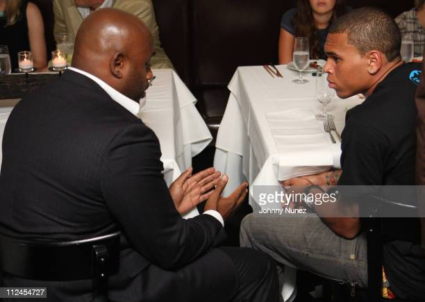 Steve Stoute and Chris Brown attend an after performance dinner at Philip Chow's on July 29 2008 in New York City