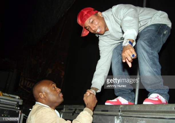 Steve Stoute and Pharrell Williams during JayZ's 'Best Of Both Worlds' New York Performance Backstage at Madison Square Garden in New York City New...