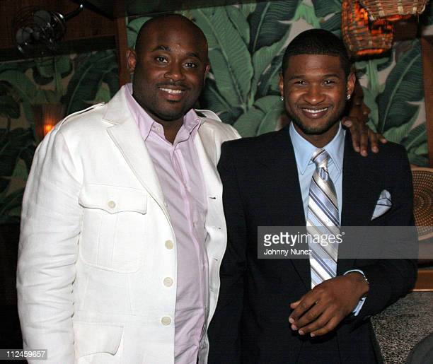 Steve Stoute and Usher during VIBE Vixen VIP Dinner August 10 2005 at Maritime Hotel in New York City New York United States