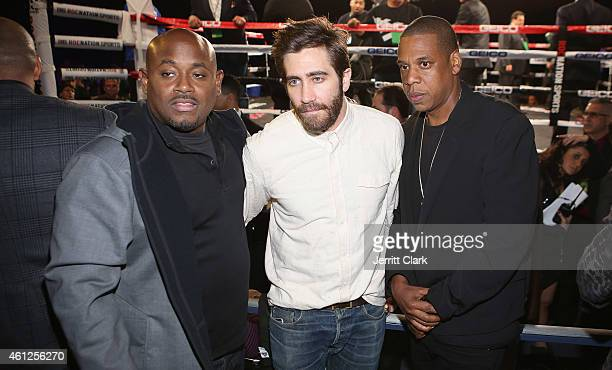 Steve Stoute Jake Gyllenhaal and Jay Z attend 2015 Throne Boxing Fight Night at The Theater at Madison Square Garden on January 9 2015 in New York...