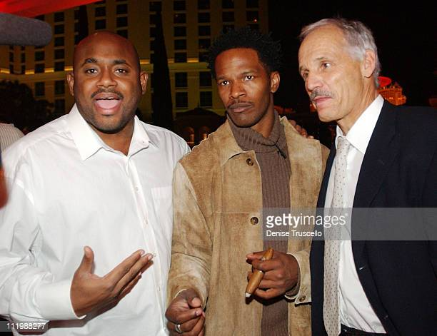 Steve Stoute Jamie Foxx and Dr Reto Cina during The Zino Platinum Cigar Party Hosted By Naomi Campbell at The Bellagio Hotel And Casino in Las Vegas...