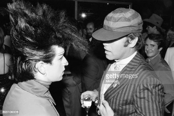 Steve Strange and Elton John at the new nightclub Stringfellows in Covent Garden London 1st August 1980