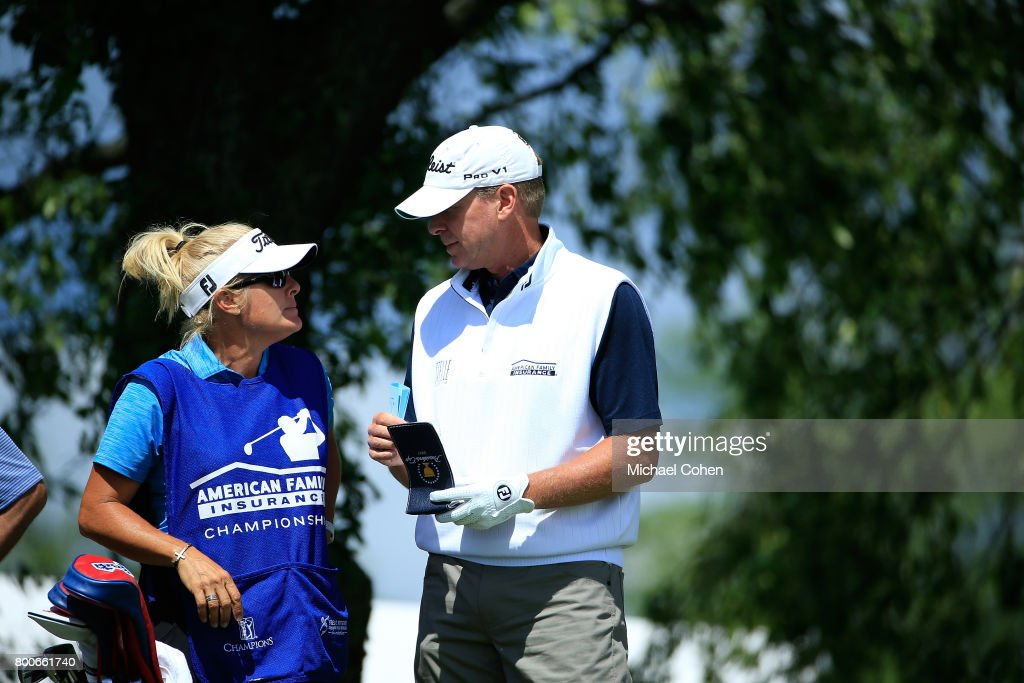 Steve Stricker and his wife and caddie Nicki Stricker prepare for a shot during the second round of the American Family Insurance Championship held at University Ridge Golf Course on June 24, 2017 in Madison, Wisconsin.