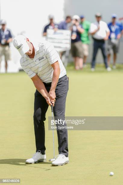 Steve Stricker attempts a birdie putt on eighteen during the final round of the American Family Insurance Championship Champions Tour golf tournament...