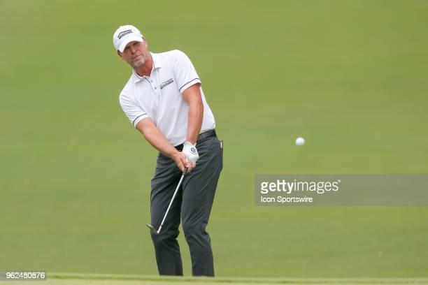 Steve Stricker chips onto the green during the second round of the Fort Worth Invitational on May 25 2018 at Colonial Country Club in Fort Worth TX