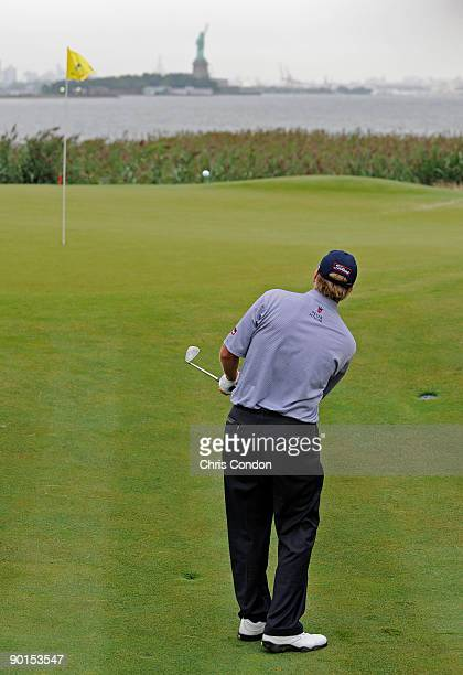 Steve Stricker chips to the 14th green during the second round of The Barclays at Liberty National Golf Club on August 28 2009 in Jersey City New...