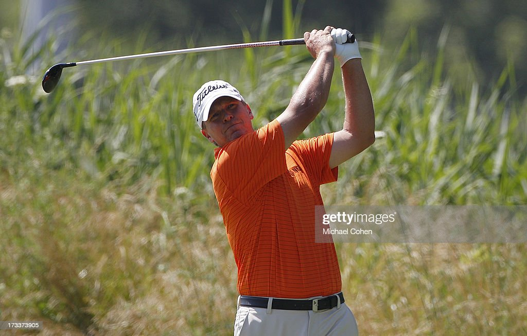 Steve Stricker hits a drive during the second round of the John Deere Classic held at TPC Deere Run on July 12, 2013 in Silvis, Illinois.