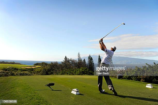Steve Stricker hits a drive on the 12th hole during the second round of the Hyundai Tournament of Champions at Plantation Course at Kapalua on...