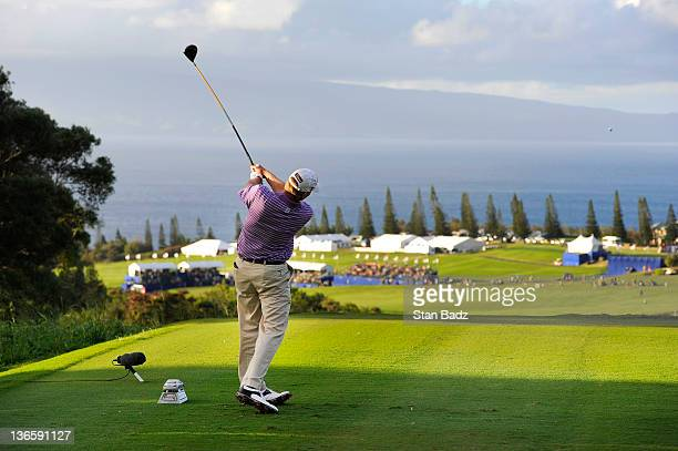 Steve Stricker hits a drive on the 18th hole during the third round of the Hyundai Tournament of Champions at Plantation Course at Kapalua on January...