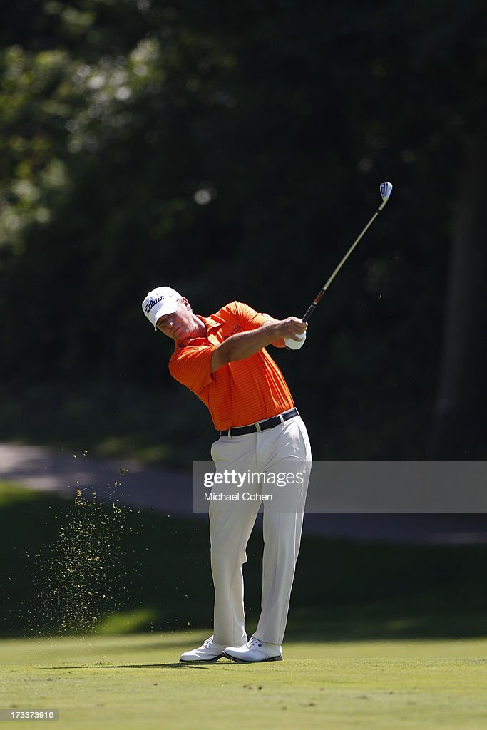 Steve Stricker hits a shot from the fairway during the second round of the John Deere Classic held at TPC Deere Run on July 12, 2013 in Silvis, Illinois.