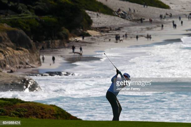 Steve Stricker hits from the fairway on the ninth hole during the Final Round of the ATT Pebble Beach ProAm at Pebble Beach Golf Links on February 12...