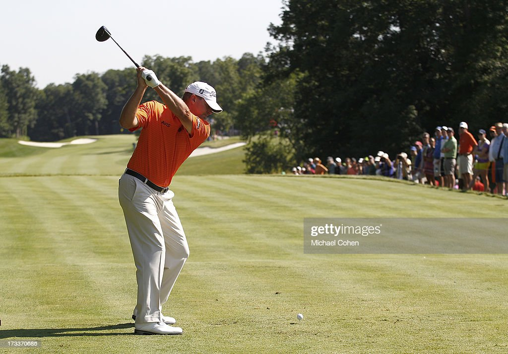 Steve Stricker hits his drive on the 15th hole during the second round of the John Deere Classic held at TPC Deere Run on July 12, 2013 in Silvis, Illinois.